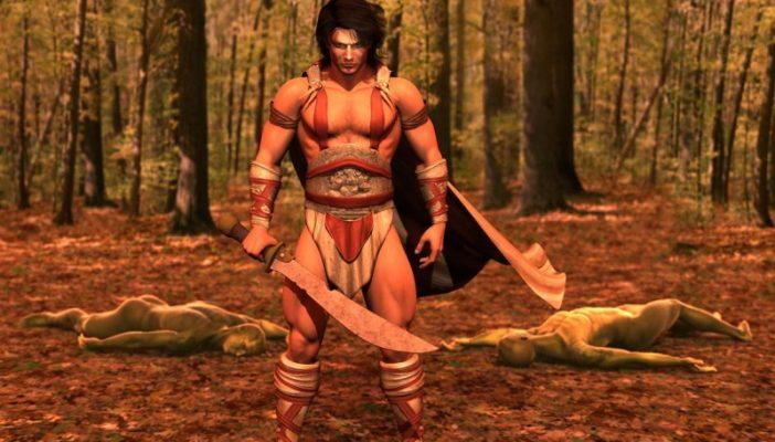 Pose da battaglia con spada per Michael 4