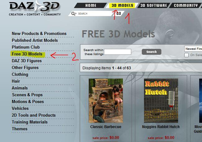 Come trovare i contenuti gratuiti e le figure umane 3d sul sito DAZ3D