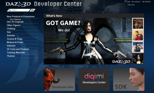 DAZ 3D developer shop