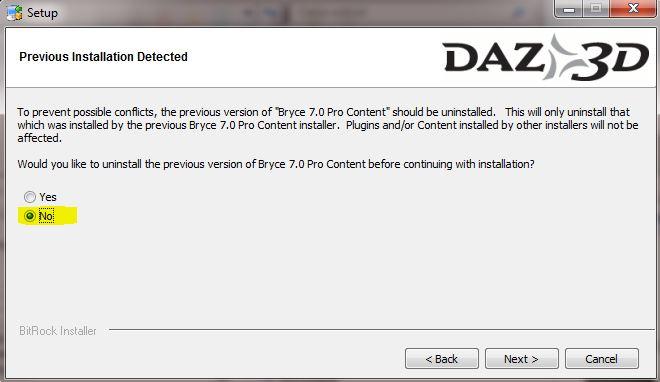 Selezionate No nella schermata Previous Installation Detected
