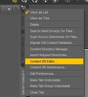 Cliccate su Content DB Editor