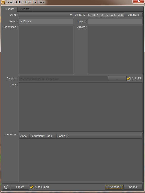 Finestra del Content DB Editor