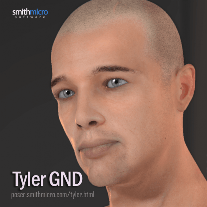 Viso della figura umana 3d per Poser Tyler GND