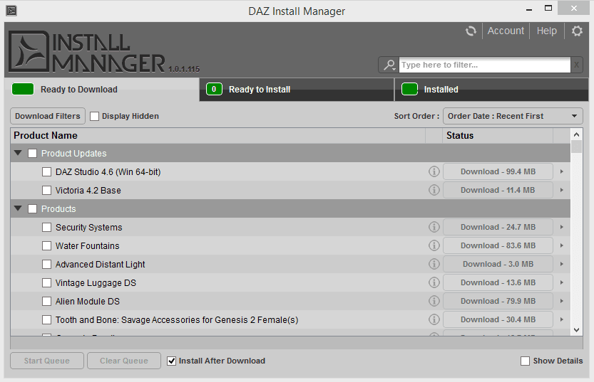 The DAZ Install Manager interface by DAZ 3D