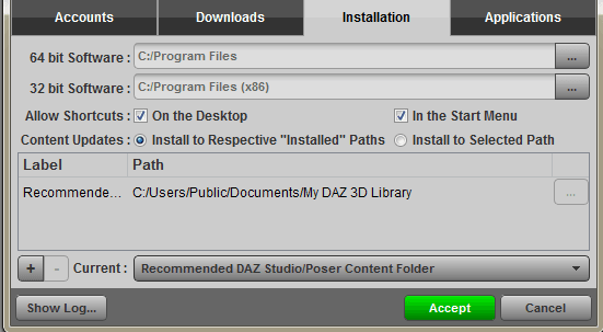 Installation settings tab of the DAZ Install Manager