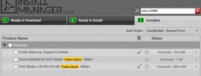 DAZ Studio 4.8 files in the DAZ Install Manager